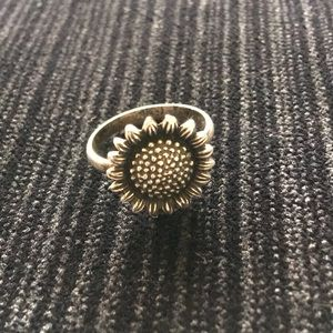 Sterling Silver Sunflower Ring Size 7 Marked 925